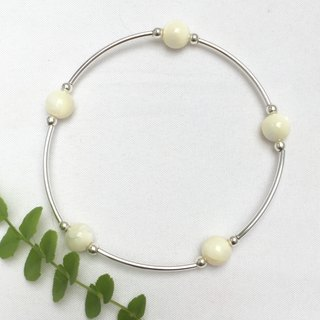 BR0333 - own design and manufacture of natural gems - pearl / silver bracelet 925