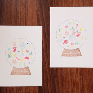 """Christmas crystal ball"" hand-made postcards"