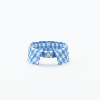 Among handmade 。pet necklace_skyblue_ plaid