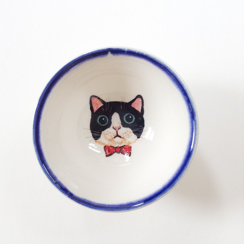 Hand painted small teacups - black and white Mercedes Cat