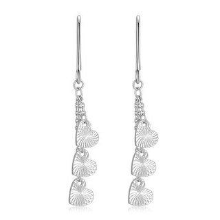 Hong Kong Design 14K / 585 white gold net gold heart-shaped Drop Earrings