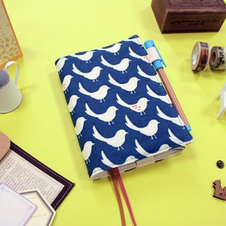 A6 / 50K handmade adjustable cotton clothes book - blue dove of peace (dark blue)