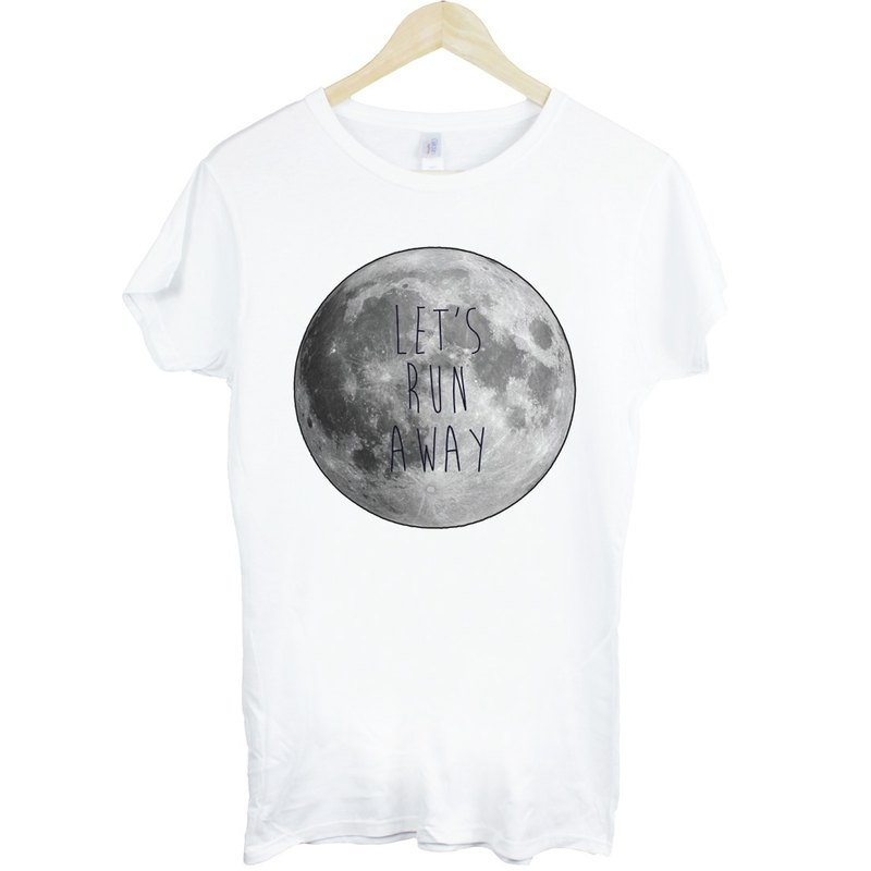 LETS RUN AWAY-Moon girls short-sleeved T-shirt - white moon Earth Wen Qing Fashion Design fashion photo living text