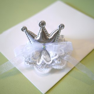 Children flower girl hair band / hairpin: Silver Crown white hand-made lace Limited