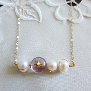 ∴Minertés = pearls, fluorite, simple brass necklace = ∴