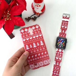 [Xmas Gift Packaging] Apple Watch Series 1 and Series 2 - Red Cute Christmas Winter Jumper Pattern Soft / Hard Case with Swarovski Elements + Apple Watch Strap Band