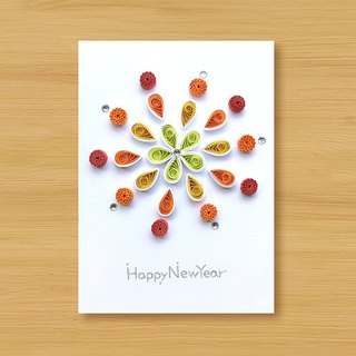 Handmade rolled paper card _ Fireworks _A ... New Year greeting card, thank you card, universal card