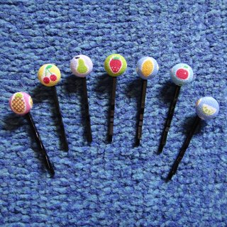(C) Fruit Party _ small hairpin C20ASZ15 cloth buttons
