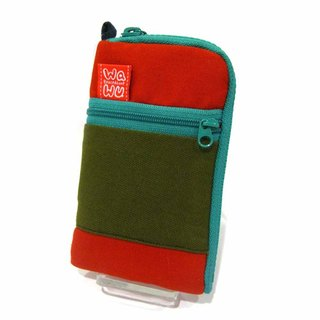 Mobile phone pocket (red-green fabric)