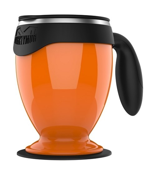 [Sucking and not pouring cups] Desktop double-layer covered mugs - Stainless steel Monarch Edition (orange)