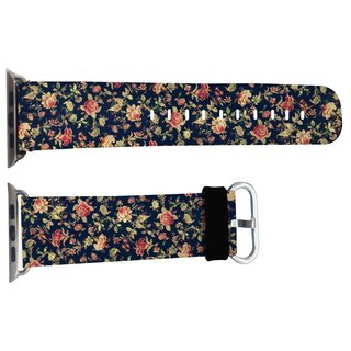 Floral black leather strap models Apple Watch Apple Watch exclusive leather strap with 42mm and 38mm color models (WB09)