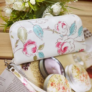 White roses watercolor British tarpaulins long clip / wallet