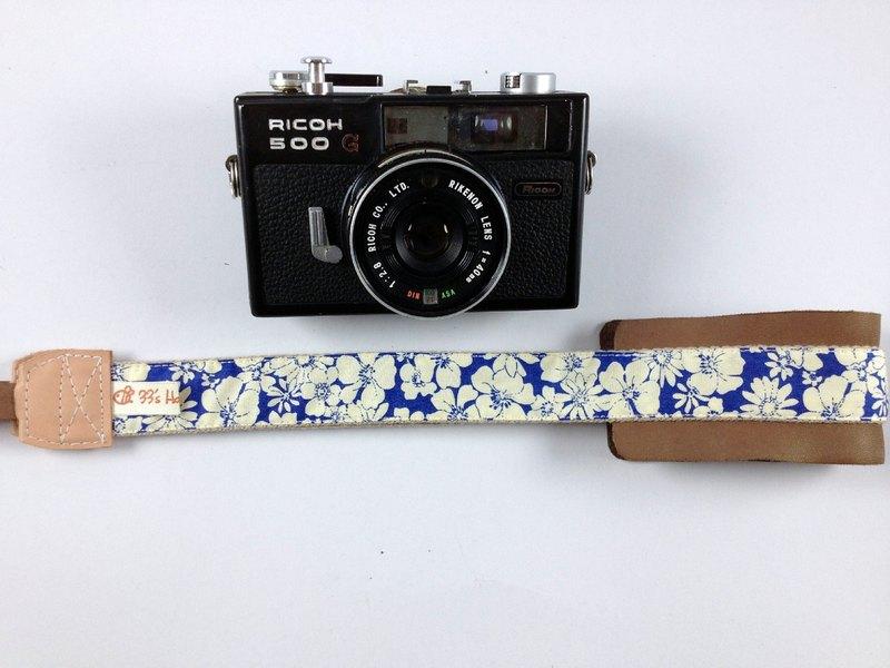 手作單眼.類單眼減壓相機背帶.相機背繩---復古藍底白花款