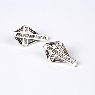 geometric geometric designs series - Swarovski black diamond cross earrings ear pin