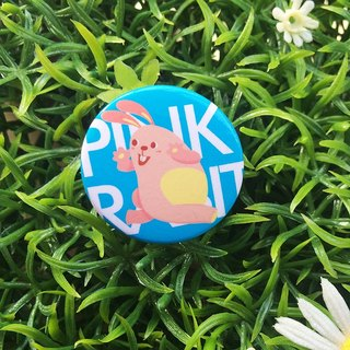 CHUMIO RUN Series: Illustration Badge Pin / Magnet (Pink Rabbit)