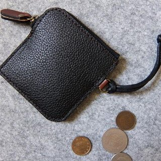 YOURS minimalist small leather handmade leather purse with a ‧-color with black embossed leather + dark wood