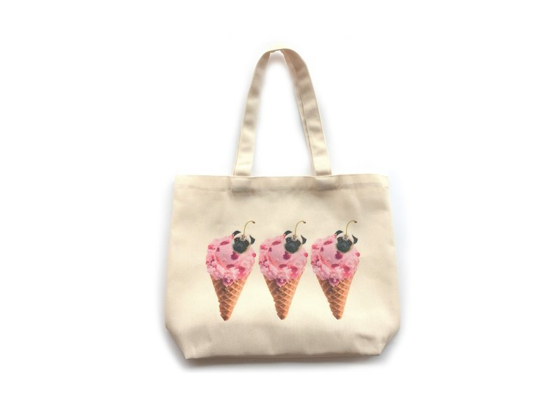 [ YONG ] Strawberry Puglicious Canvas Tote
