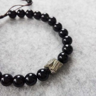 Dark ray black agate pyrite natural stone crystal bracelet hand rope gift