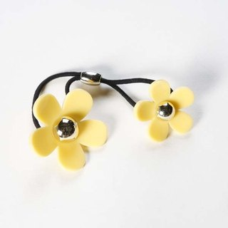 Gold beads acrylic double flower, hair bundle, hair ring - yellow