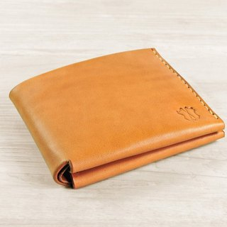 MICO hand-sewn leather short wallet / short clip / wallet / Choi cloth (light tea)
