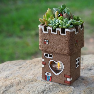 Castle Garden [garden] hand-made pottery - super cute castle candle light garden (rock brown) / Ceramic Castle / custom orders