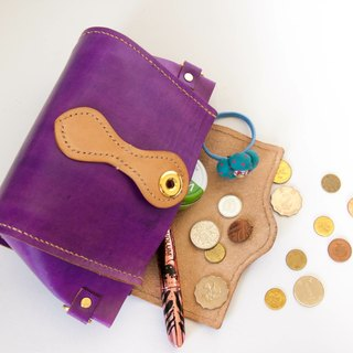 Do not hit the bag purple vegetable-tanned leather handmade pure leather handbag