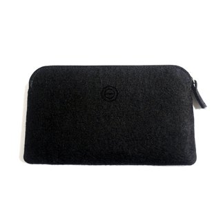 Simple multi-functional wool felt clutch bag / black ink bag. Mobile phone storage bag. Cosmetic bag. Passport bag