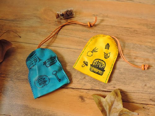 Pure hand-dyed hand-stitched leather key bell-shaped water jacket / Wallets (blue) - Specials