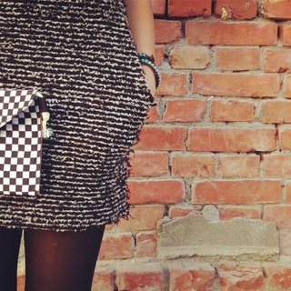 [Hand dorsal envelope Dream Bag- checkered]