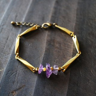 Muse natural wind series NO.160 purple amethyst bracelet gravel section brass