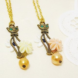 {Flower} green cat eyes cat crystal necklace * Department of Forestry hand
