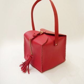 Zemoneni leather fine lady night hand carry bag Chinese style in red color
