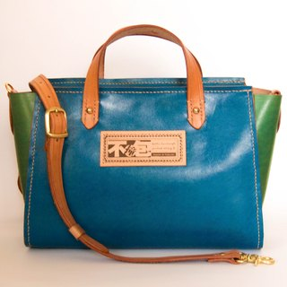 Do not hit Bao blue collided with green vegetable tanned leather hand full leather tote package with wood tassels accessories