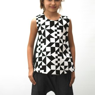 Spain MOTORETA geometric black and white sleeveless T-shirt