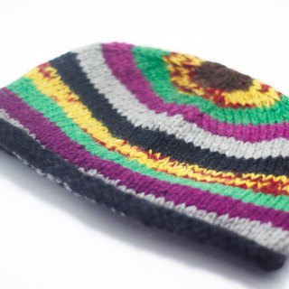 Valentine's Day gift of pure hand-woven wool hat / knitted caps / hand-woven caps / wool cap (made in nepal) - tropical hues blending stripes