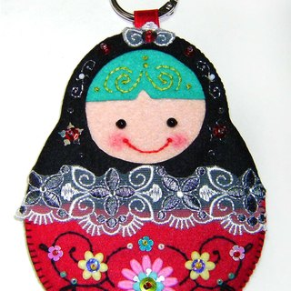Russian doll card set - black and red
