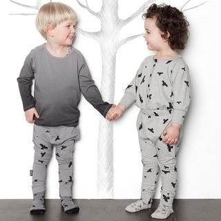 [Nordic Children's Wear] Organic Cotton Duck Children's Wear Gradation Black Long Sleeve Top Black & White-lt5