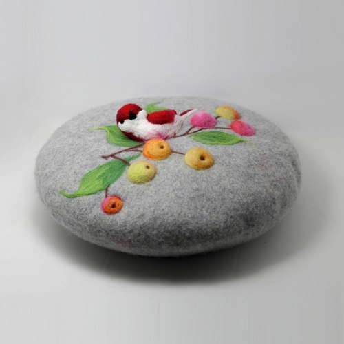 Ke original people felt cap beret painter cap wool felt needle felt three-dimensional bird custom loquat - gray blue