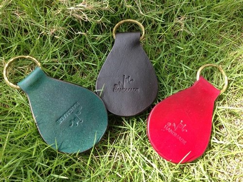 JM first layer of leather - retro handmade leather key ring cards
