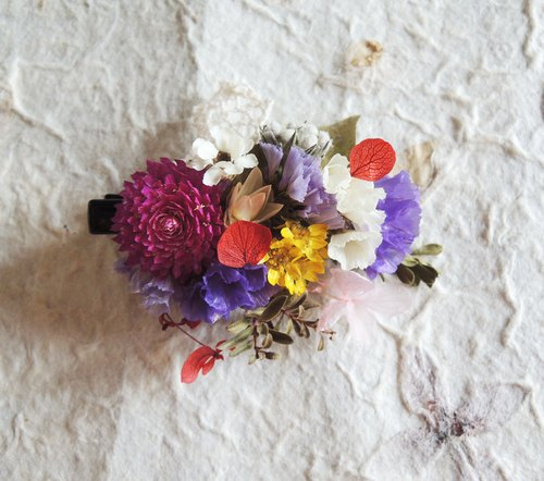 Sweet ‧ circle classic series handmade purple diffuse purple stars purple thousand days red Preserved Hydrangea ball chrysanthemum white plum French ribbon dried flower bridal hair accessories hairpin