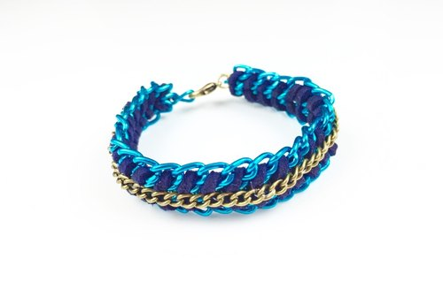 X fluorescent blue suede rope aluminum chain