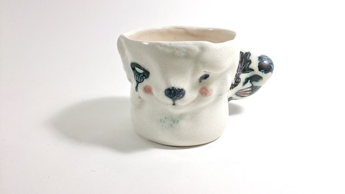 Sheep dot the snow garden Cup - forest animals picnic table series