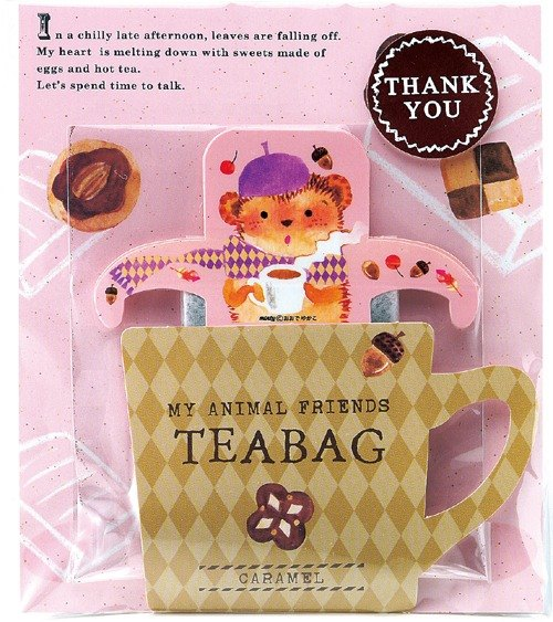 Japan TOWA [black] THANK YOU cute animal series tea bag hanging ear - caramel taste (hedgehog)