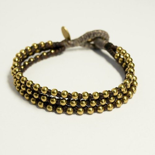 Rock trio. Triple series. ◆◆ Sugar Nok ◆◆ hand-woven wax wire bracelet brass