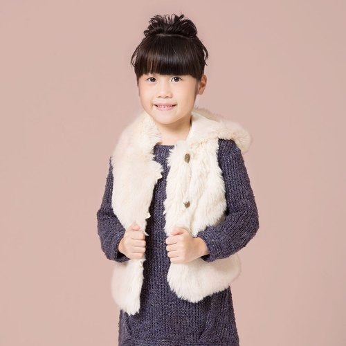 Ángeles- hooded cardigan vest fur - gray / beige / pink (8 years old to 10 years old)