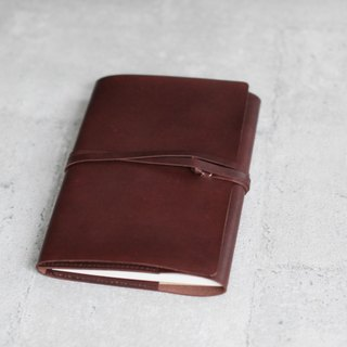 A5 size dark brown handmade refillable leather journal notebook/ Book Cover