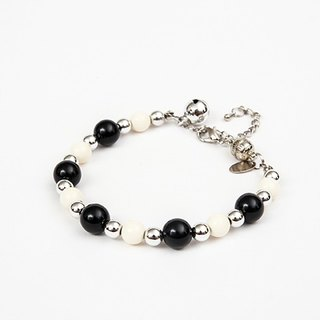 Ella Wang Design black and white silver bead necklace - black and white cat collar pet collar necklace handmade fashion