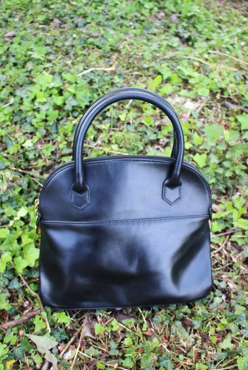 F899 Italian system (Vintage) black genuine leather hand bag (made in Italy in the standard)