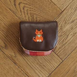Croxxx|handmade cross stitch lambskin leather coins pouch|brown - CAT