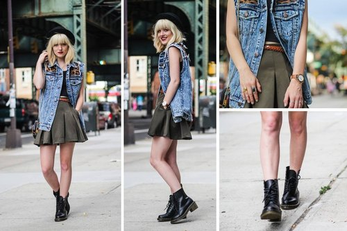 HOT HEART urban feline vest / tannins denim vest ladies Lookbook overseas bloggers fan Dan Shanzhen